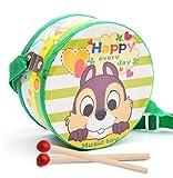 Luxury-uk Tolles Baby Spielzeug Geschenk 20cm doppelseitiges Drucken Tamburin Handtrommel Musikinstrument mit Stock (grünes Eichhörnchen) für Geburtstag Weihnachtsfest