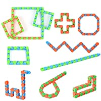 Hotgod 20 Pack 24 Links Wacky Tracks Snap and Click Finger Sensory Toys, Snake Puzzles for Stress Relief or Party Bag Fillers for Party Favours(Random Color)