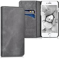 kalibri Hülle für Apple iPhone 7/8 - Wallet Case Handy Schutzhülle echtes Leder - Klapphülle Cover mit Kartenfach und Ständer Dunkelgrau