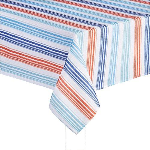 Sydney Streifen bedruckter Stoff Tischdecke, Textil, Navy Blue, Orange, Turquoise, White, 60 x 84 Rectangle/Oblong (60 84 X Tischdecke Stoff)