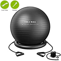 TOPELEK Exercise Yoga Ball Set, Stability Ball Swiss Ball with Resistance Bands, Stability Ring, Pump, Cork Puller and stopper, Anti-Burst and Non-Slip