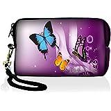 MySleeveDesign Etui Caméra digital Sac portable Housse - pour Canon Fuji Sony Panasonic Samsung Nikon Pentax Lumix Olympus & tous les autres appareils photo numériques compacts - Butterfly Purple