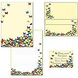 Mariposas–1Bloc de notas Bloc de cartas (DIN A4+ sobres DIN LANG + 2tarjetas postales 1 Schreibblock + 15 Kuverts ohne Mappe