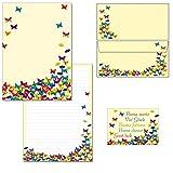 Schmetterlinge - 1 Schreibblock Briefblock DIN A4 + 15 Briefumschläge DIN lang + 2 Postkarten Block-Set-SchmF