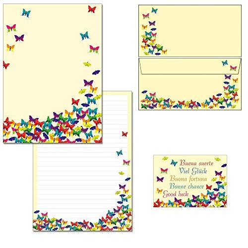 Schmetterlinge - 1 Schreibblock Briefblock DIN A4 + 15 Briefumschläge DIN lang + 2 Postkarten Block-Set-Schm