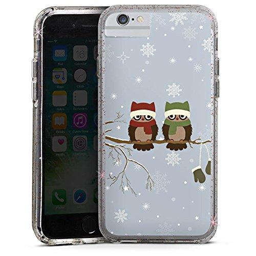 Apple iPhone 8 Bumper Hülle Bumper Case Glitzer Hülle Owl Eule Uhu Bumper Case Glitzer rose gold