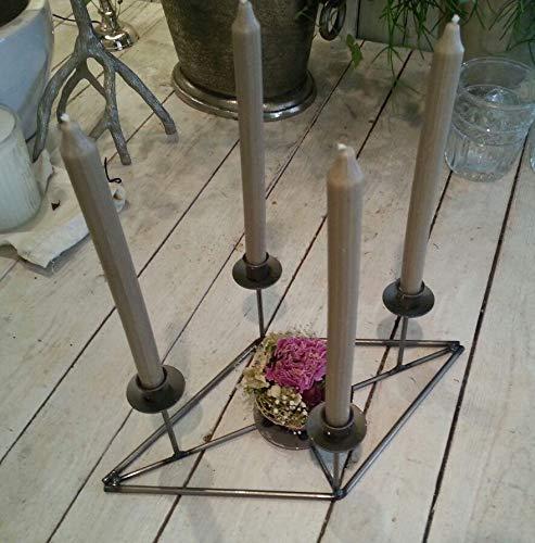 Unbekannt | Kerzenständer Kerzenhalter Leuchter Tischleuchter Adventskranz für 4 Kerzen | Stabkerzen Tafelkerzen | Metall Silber Grau | L 45 cm B 23,5 cm H 15 cm