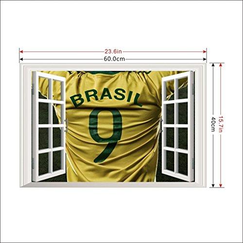 Focus DIY Removable Fußball-Spieler-Kunst-Wand 3D-Fenster-Wand-Aufkleber-Kind-Raum-Dekor-Nursery-Abziehbild-Aufkleber Tapete Poster (- Fussball-fenster-abziehbild)