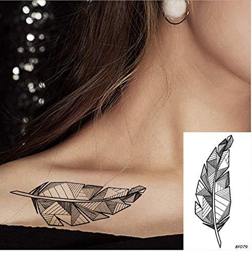 re Black Feather Female Leaflet Tattoo Sticker Mädchen Körper Arm Brust Schlüsselbein Fake Tattoo Totem Line wasserdichte Tätowierung ()