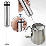 Edited Elektrische Milch Aufschäumer Milchicopter (Batteriebetriebe, LED-Kontrollleuchte, leichte Reinigung, Milk Frother, u.a. geeignet als E-Liquid-Mischer) Matcha-Besen silber