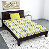 Divine Casa 104 TC 100% Cotton Abstract Single Bedsheet with 1 Pillow Cover, Yellow Color (Single Bed (57 W x 88 L Inch))