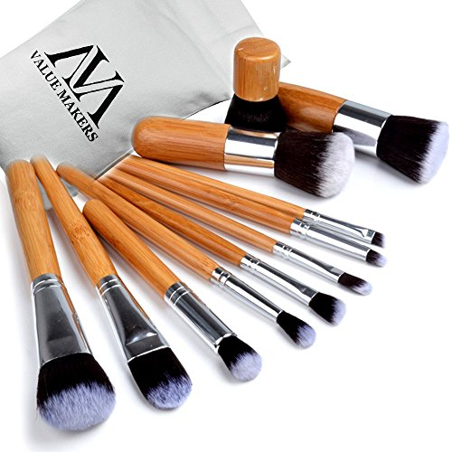 VALUE MAKERS 11pcs Maquillage Brush Set Professional bambou poignée Kit Cosmétique Pinceaux