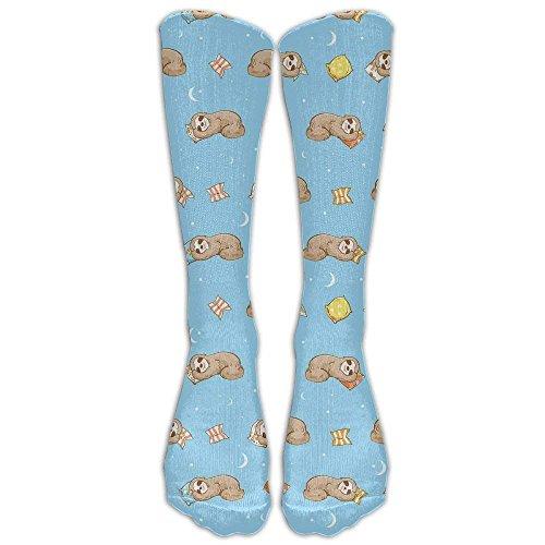 Lazy Cute Sloths Cotton Smooth Compression Knee Socks Afforable Hiking Teen Cartoon Knee-high Long Tube Crew Socks Sloths 02