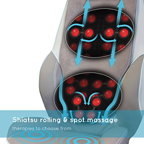 HoMedics Shiatsu massage device for back and shoulders - Adjustable massage chair, tension 3 zone settings, All, Upper and lower back muscles, Vibration, Soothing heat - Black