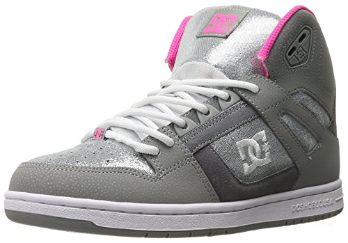 DC Rebound High SE Skate Shoe, Silver, 6.5 M US (Damen Skate High Schuhe Dc)