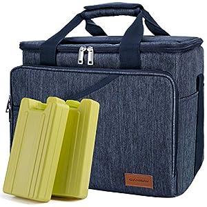 CANWAY Faltbar Thermotasche Kühltasche 40-Dosen Große 25L Isoliertasche mit 2 Eisdosen für Reisen Outdoor Wandern Picknick Grillen Party