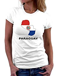 Teeburon Paraguay Country Map Color Camiseta Mujer
