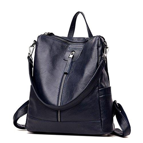 DEERWORD Damen Rucksackhandtaschen Schultertaschen Schulrucksack Tagesrucksack Laptoptasche Leder Blau