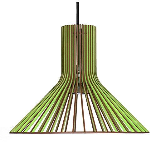 Suspension tolva en bois - Plafonnier design moderne - 8 couleurs disponibles -, vert pomme, E27 60.0 wattsW