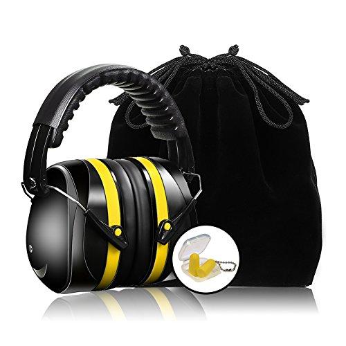 Meerveil Kapselgehörschütz, Verstellbare Ohrenschütz, Hörschutz mit Gepolsterter Kopfbügel, Gehörschutz für max. Dämpfung bis SNR 35db, Lärmschutz mit Gehörschutzstöpselund Samtbeutel (Gelb)