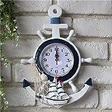 WEII Mediterraner Stil Blau und weiß Rudder Steuermann Anker Kreative Persönlichkeit Wanduhr Dekoration Nautische Uhr,Stil 1,Bild