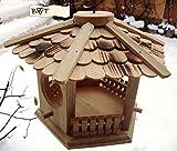 Vogelhaus, Futterhaus, Holz massiv, NATUR-Vogelhäuser in PREMIUMQUALITÄT, kleines Vogelfutterhaus in Größe 25 cm ng