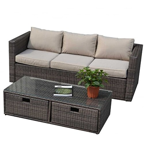 Direct Wicker 6 Seater Rattan Garden Furniture Sofa