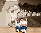 selbstklebende Fototapete - Bunte Strandhütten in Großbritannien - sephia - sepia - 360x230 cm - Tapete mit Kleber – Wandtapete – Poster – Dekoration – Wandbild – Wandposter – Wand – Fotofolie – Bild – Wandbilder - Wanddeko