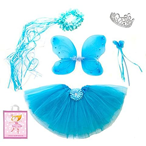 5 Piece Sparkle Fairy Princess Costume Set PLUS GIFT BAG (Turquoise) by Lilly and the Bee Novelties