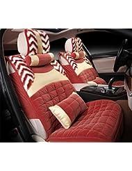 AMYMGLL Autositzbezug fünf Auto Universal-Baumwolle + Feder Winter vordere und hintere Reihe Kissen 2 Kissen Standardversion und Luxusversion der vier Farboptionen