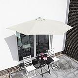 Sekey 2.7m halb-runder Sonnenschirm/Marktschirm/Terrassen-Schirm mit Kurbel für Garten, Terrassen, Höfe, Schwimmbäder, mit 5 Stahlverstrebungen, 100% Polyester Schirm, UV 50+,weiß