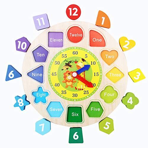 Baby Spielzeug Holz Spielzeug Lernuhr Digital Geometrische Bausteine Puzzle Spielzeug DIY Perlen Spielzeug