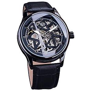 Automatische mechanische Uhren   Luotuo Mode Sternförmige Hohle Zifferblatt Design Business Mode Herren mechanische Uhr Ø42mm Edelstahl Zifferblatt mit PU-Leder Uhrenarmbänder 30M wasserdicht