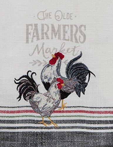 Kay Dee Farmer's Market Rooster Embroidered Tea Towel Küchentuch, Baumwolle, verschieden, 18