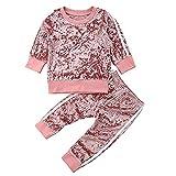 Carolilly 2 Pcs Ensemble de Sport Pantalon et Haut Manches Longues Vêtement Enfant Bébé Garçon/Fille en Velours (6M-5Ans), Rose, 90(1-2 Ans)...