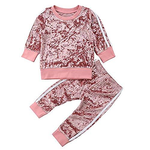 Bebé Niño Invierno Otoño Camiseta Pantalones de Terciopelo 6 Meses -5 Años Sudadera sin Capucha + Pantalones 2 Piezas Traje Ropa Deportivo para Bebés Recién Nacido