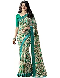 31e4d56e18 Genius Creation Bollywood Designer Green Color Georgette Saree With Blouse  Piece