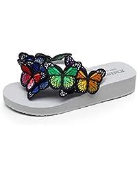 3.5CM Zapatos ocasionales antideslizantes de la playa de los deslizadores de la mariposa de los deslizadores hechos a mano femeninos del verano (tamaño, color opcional) ( Color : Blanco , Tamaño : EU36/UK4/CN36 )