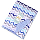 Baby Bucket Double Layer Velvet Fleece Newborn Printed Baby Blanket (WH+LBLUE)