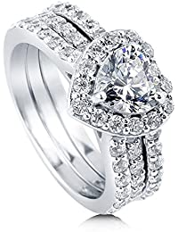 BERRICLE Rhodium Plated Sterling Silver Cubic Zirconia CZ Halo Heart Engagement Insert Ring Set