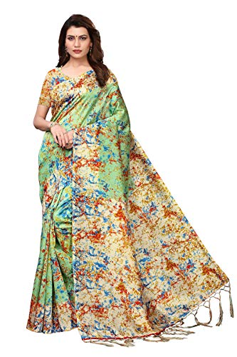 Indian Women's Art Silk Kalamkari and Bhagalpuri Style Sari with Blouse Piece Spray Pista