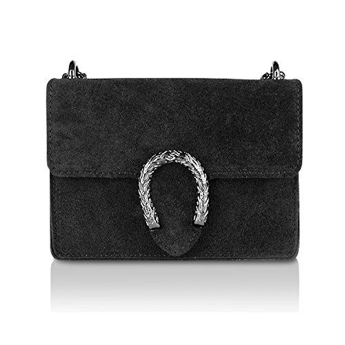 Glamexx24 Borsa Vera Palle Da Donna A Mano Casual Borsetta Tracolla Elegante Clutch Made In Italy 1 004 1 007 8 Nero