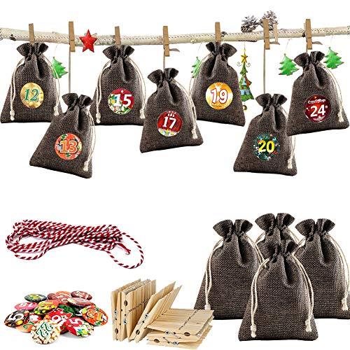 Adventskalender Jutesäckchen zum Befüllen und Aufhängen, 24 Stoffbeutel für Geschenk-Verpackung, 2019 Weihnachten Geschenksäckchen Deko Kette zum Selberfüllen, jutebeutel, 24 Zahlen Buttons von DIY