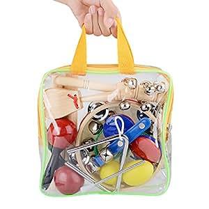 Innocheer Kinder 10 Stk Musikinstrumente & Percussion-Spielzeug-Rhythmus-Band-Set