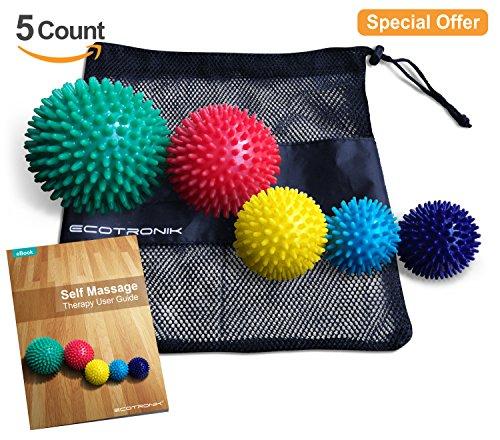 ECOTRONIK Massageball-Set, 5verschiedene Größen–6cm, 7cm, 8cm, 9cm und 10cm–Premium-Qualität, medizinische Materialien–geeignet für Physiotherapie, inkl. E-Book (evtl. nicht in deutscher (High Zubehör Kit Roller)