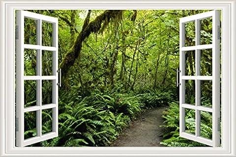 Nunubee Leinwanddrucke Bilder Kunstdrucke Gemälde Wandbilder Europäische Lebendige Fenster Wald, 60x90cm