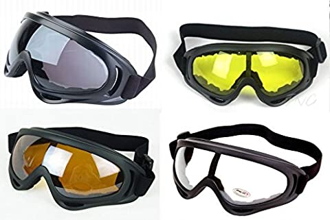 [ 4 Goggles ] Anti Glare Black Frame Multi Sport Outdoor Motorcycle Riding Snowboard Airsoft Ski Paintball UV400 Protection Sunglasses Goggles Glasses Complete