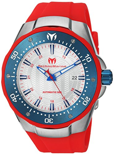 Technomarine Men's 'Manta' Automatic Stainless Steel and Silicone Casual Watch, Color:Red (Model: TM-215090)