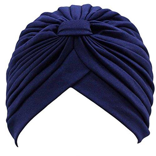 QHGstore Frauen Chemo Falten Vorgebundenen Kopf Cover Up Strickm/ütze Sun Turban Cap Wei/ß
