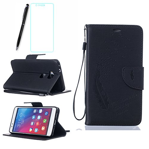 Lotuslnn iPhone 5/5s/SE Coque,Flip Wallet Cuir Etui iPhone 5/5s/SE Case Housse -( Coque+ Stylus Stift+Screen Protector)- Plume,Noir A Noir